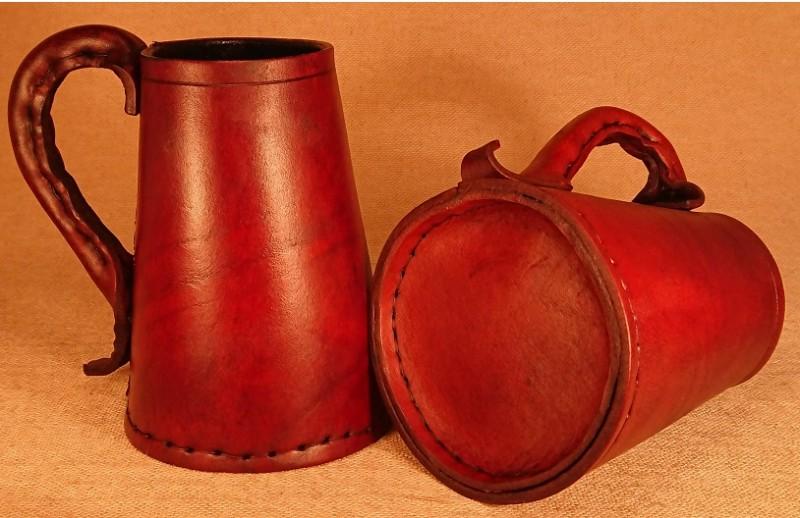 Leather Tankard. Stitched Base
