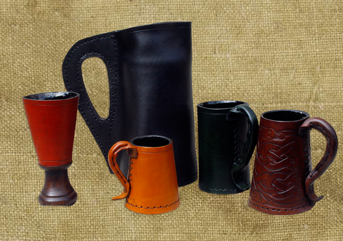 Beer tankards and goblets made from leather were popular throughout history. Picture of beer tankards and goblets.