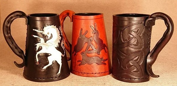 Carved leather tankards which were used extensively throughout history, now updated for modern use