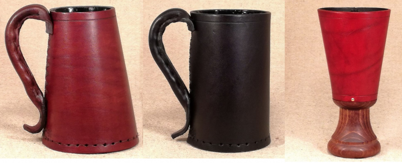 Popular drinking vessels included Tudor Leather tankard, Medieval Leather jack, and a Renaissance Leather goblet as pictured.