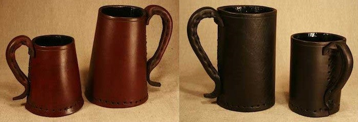 These leather tankards and jacks could be fun additions to Dungeons and Dragons and fantasy themed parties