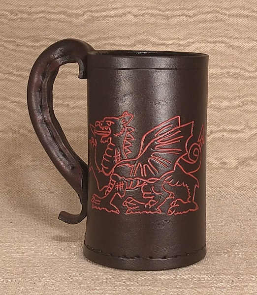 Welsh Dragon Engraved on a Leather Jack