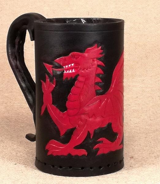 Welsh Dragon Hand Carved Leather Tankard Jack