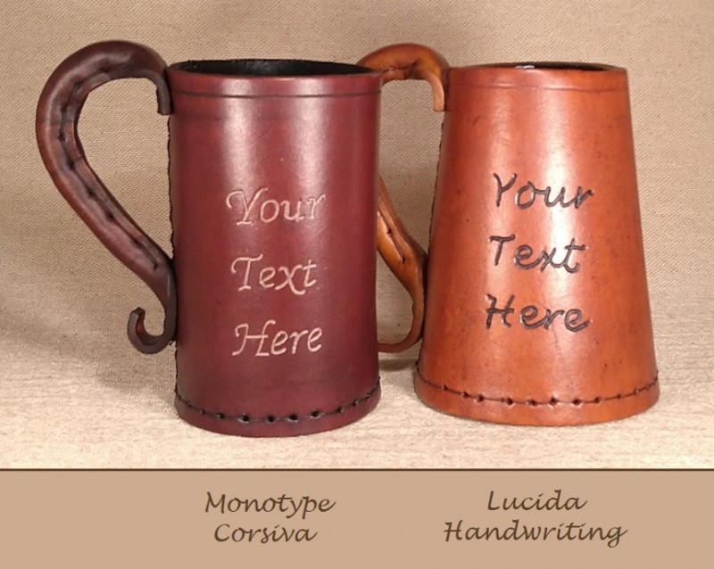 Leather Tankards personalised engraved with your name, initials or dates