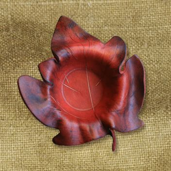 Hand Moulded Leather Trinket Leaves