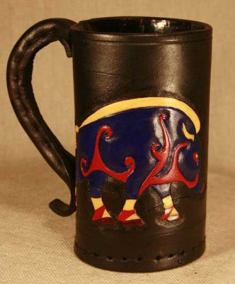 Pictish Boar Leather Tankard  -  Hand Carved