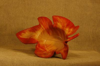 Trinket Dish Leaf –Red and Tan