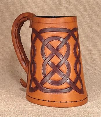 Square Celtic Knot Hand Carved Leather