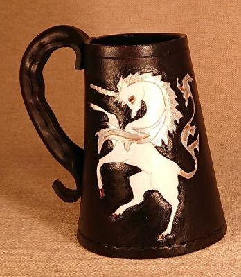 Unicorn - Hand Carved Leather Tankard