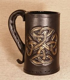 Circular Celtic Knot Leather Tankard