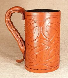 Full Body Celtic Knot Leather Tankard