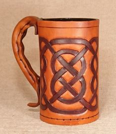 Square Celtic Knot Hand Carved Leather Tankard