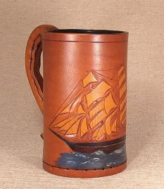 Leather Tankard Tall Ships. HMS Victory.  HMS Queen Charlotte. The Mary Rose.