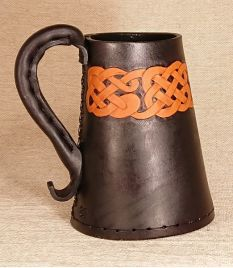Celtic Knot Rim Leather Tankard