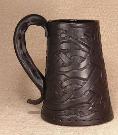 Leather Tankard Celtic Knot Serpent - Hand Carved or Engraved