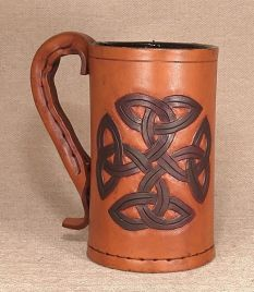 Circular Celtic Knot Leather Tankard - Hand Carved or Engraved