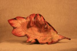 Trinket Dish Leaf –Red and Green Speckle