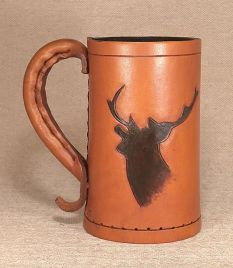 Leather Tankard. The Stag  Hand Carved